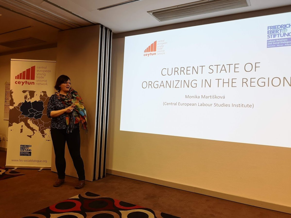 CELSI researcher Monika Martišková gave a presentation to young trade unionists at the 13th Central European Young Trade Unionist Network